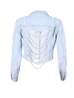 Chain-Back Cropped Jacket