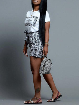 Snake Print Tee & Shorts Set--Clearance