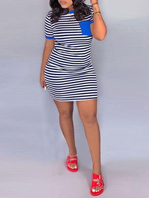 Contrast Pocket Striped Dress