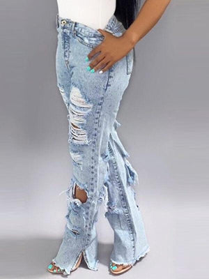 Distressed Side-Slit Jeans