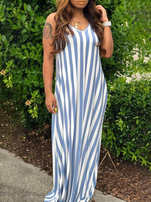 Stripe V-Neck Cami Dress--Clearance