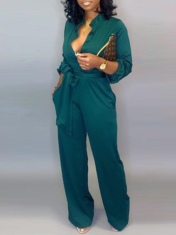 Solid Button-Down Belted Jumpsuit --- Clearance