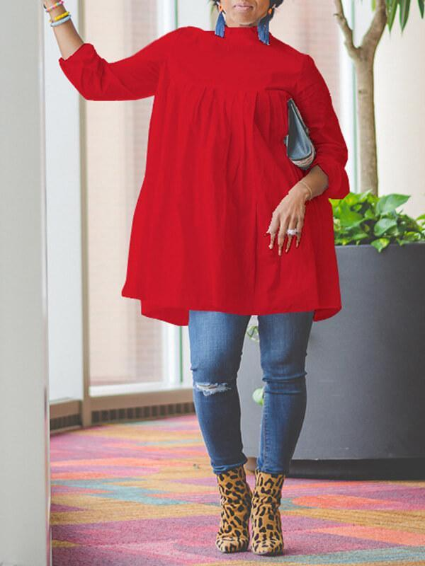 High Neck Long Sleeve Cotton Dress