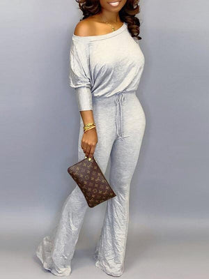 Boat-Neck Drawstring Jumpsuit