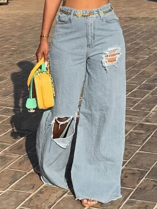 Ripped Wide-Leg Jeans