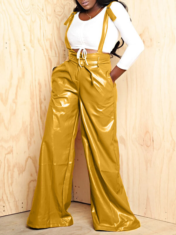 Wide-Leg Belted PU Overall