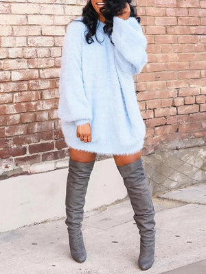 Solid Sweater Dress