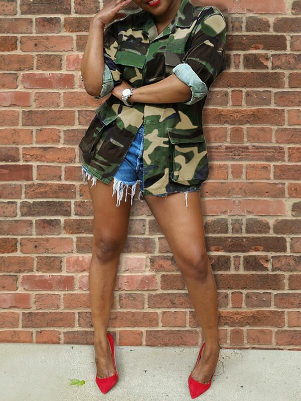 Slogan-Back Camo Cargo Jacket