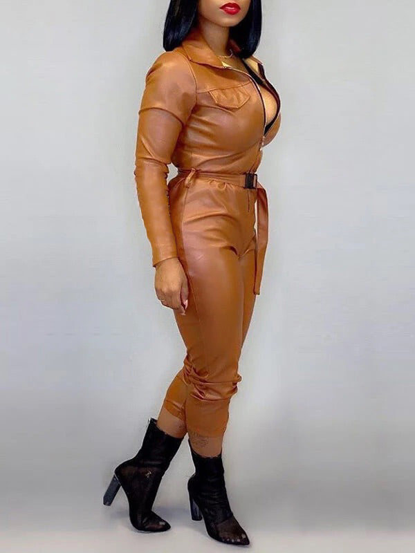 Zip-Front Belted PU Jumpsuit