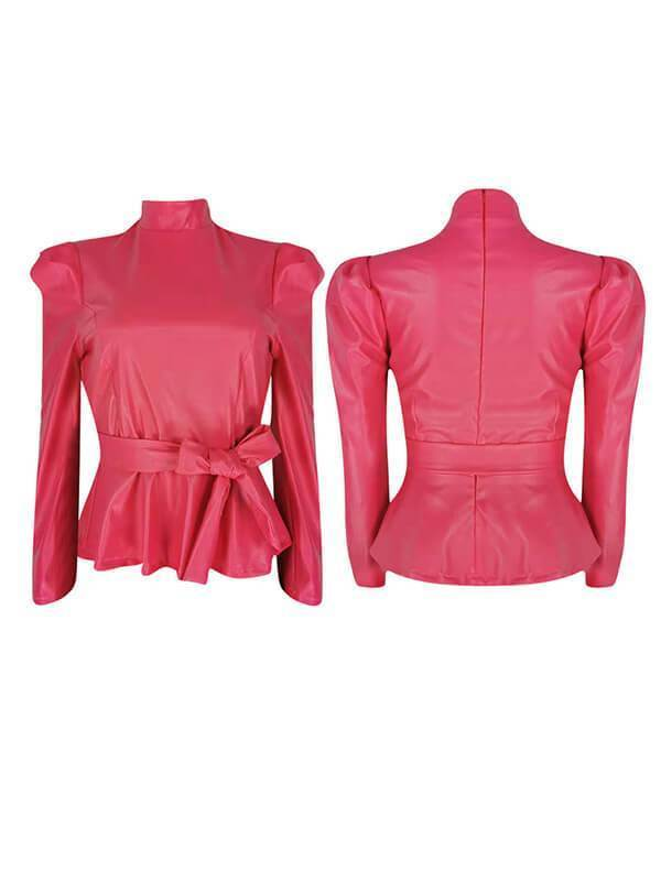 Faux Leather Turtleneck Belted Top