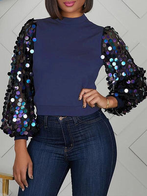 Sequin Sleeves Combo Top