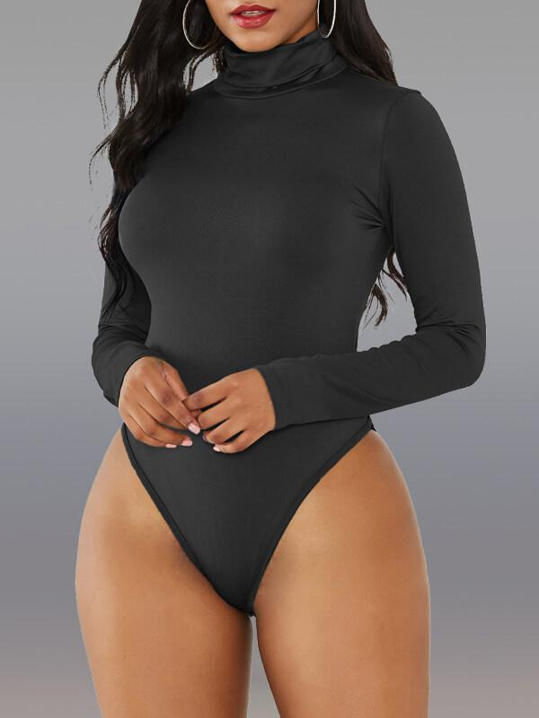 Solid Turtleneck Bodysuit