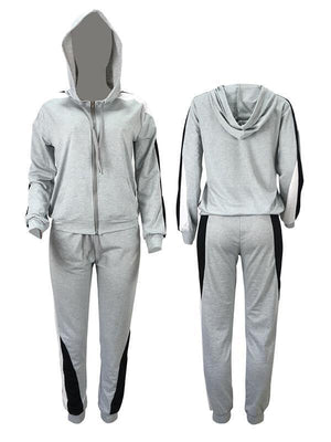 Colorblock Zip-Front Hoodie & Pants Set