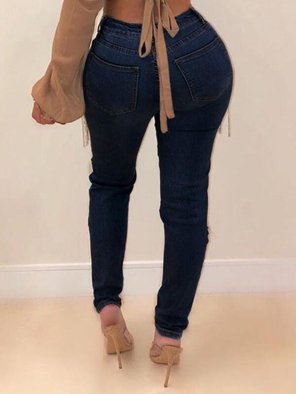 Tassel Combo Distressed Jeans