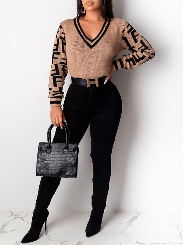 Black Contrast V-Neck Sweater