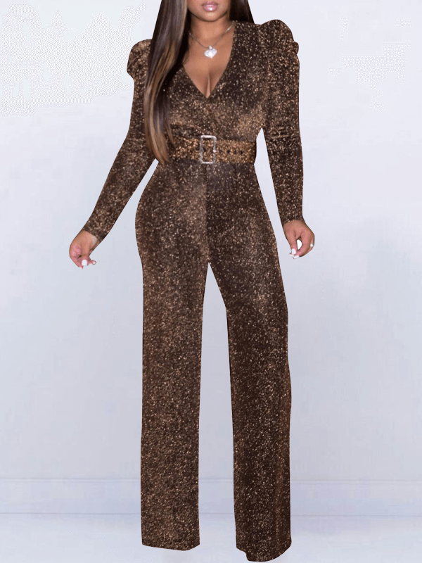 Gleam V-Neck Belted Jumpsuit