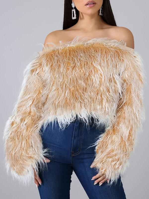 Off Shoulder Furry Top