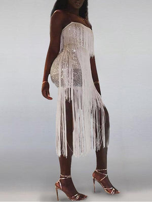 Sequin Tassel Combo Dress