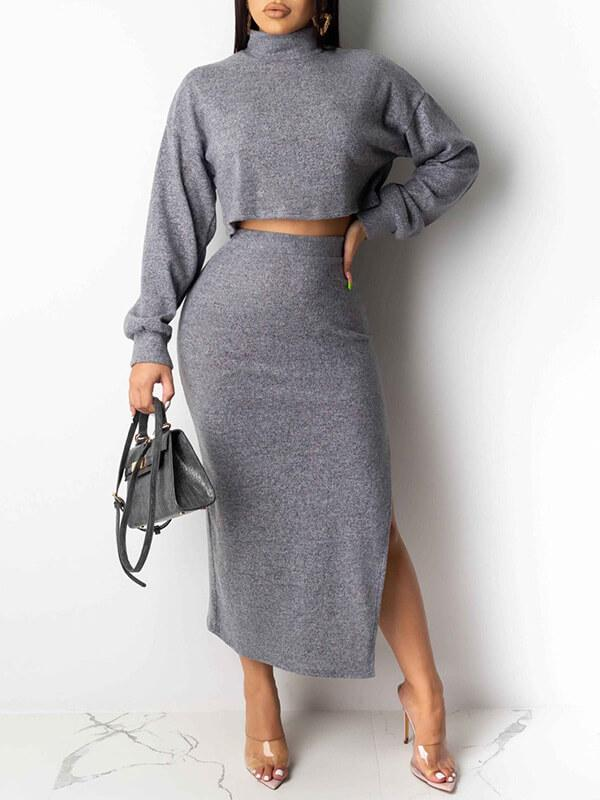 Turtleneck Crop Top & Skirt Set