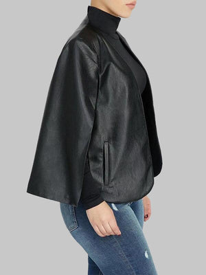 Faux Leather Cape Blazer--Clearance