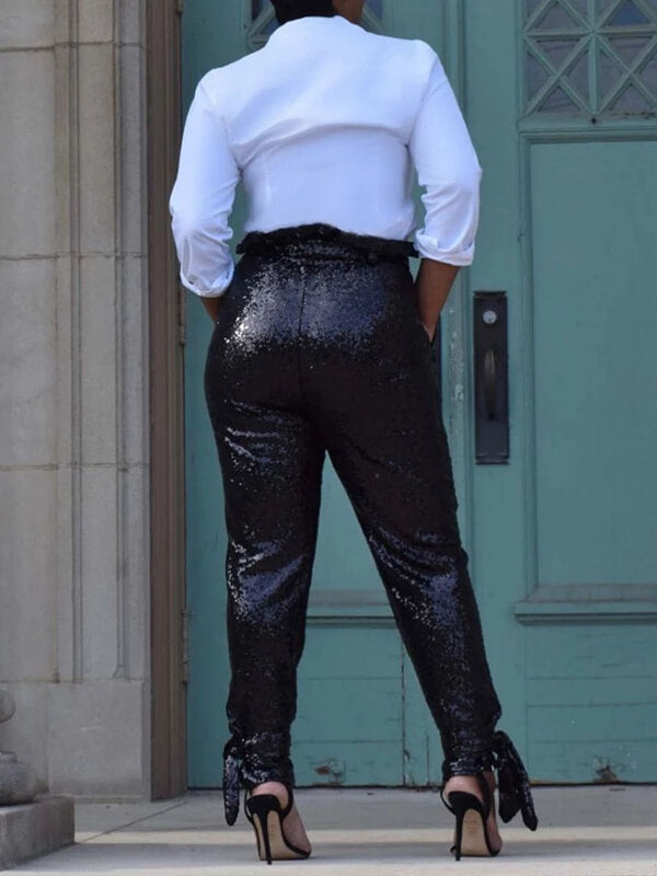 Sequin Tie-Ankle Pants