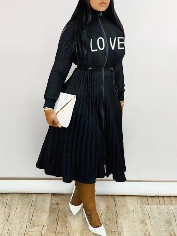 Zip-Front Pleated Dress