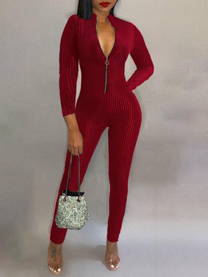 Zip-Front Ribbed Jumpsuit