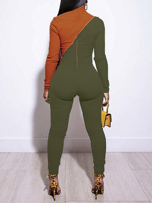Two-Tone Zip-Front Ribbed Jumpsuit