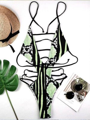 Snake Printed Cutout One Piece