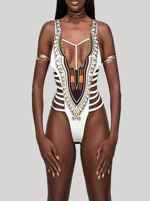 Printed Cutout One-Piece Swimsuit