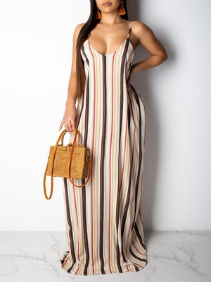 Stripe V-Neck Cami Dress