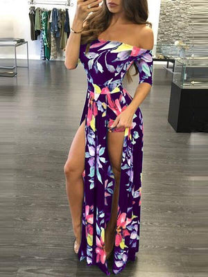 Floral Off-Shoulder Slit Romper--Clearance