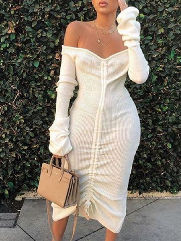 Off-Shoulder Lace-Up Dress