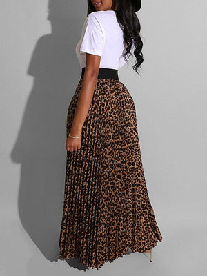 Slogan Tee & Leopard Skirt Set