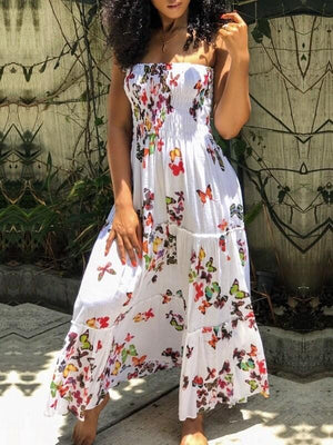 Butterfly Smocked Maxi Dress