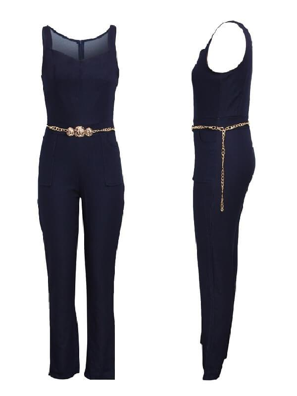 Sleeveless Denim Jumpsuit With Chain