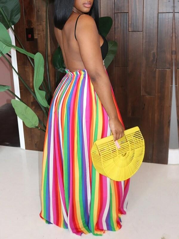 Multicolor Stripe Combo Cami Dress