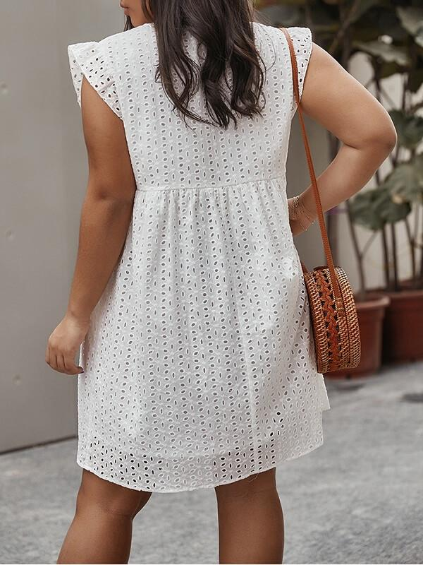 Frilled V-Neck Dress