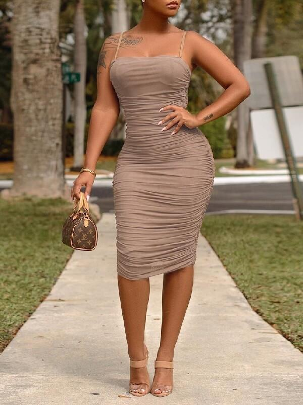 Solid Ruched Cami Dress