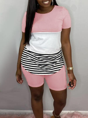Stripe Combo Tee & Shorts Set--Clearance