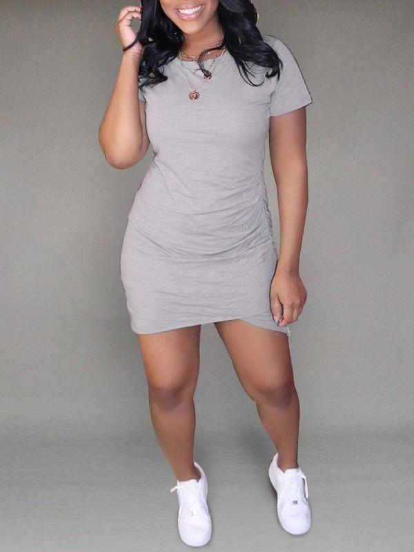 Solid Asymmetric Tee Dress