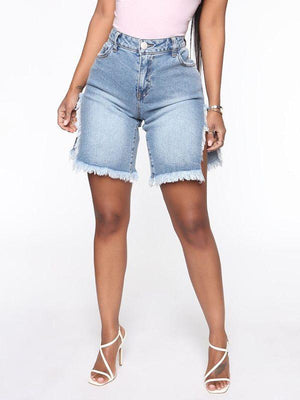 Fringe Slit Denim Shorts