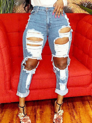 Ripped Straight Jeans