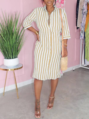 Stripe Tied Shirt Dress