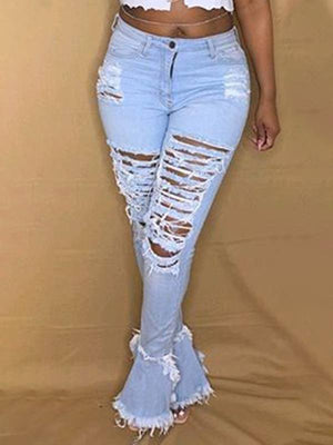 Ripped Fringe Flared Jeans