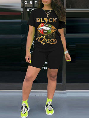 Black Queen Tee & Biker Shorts Set