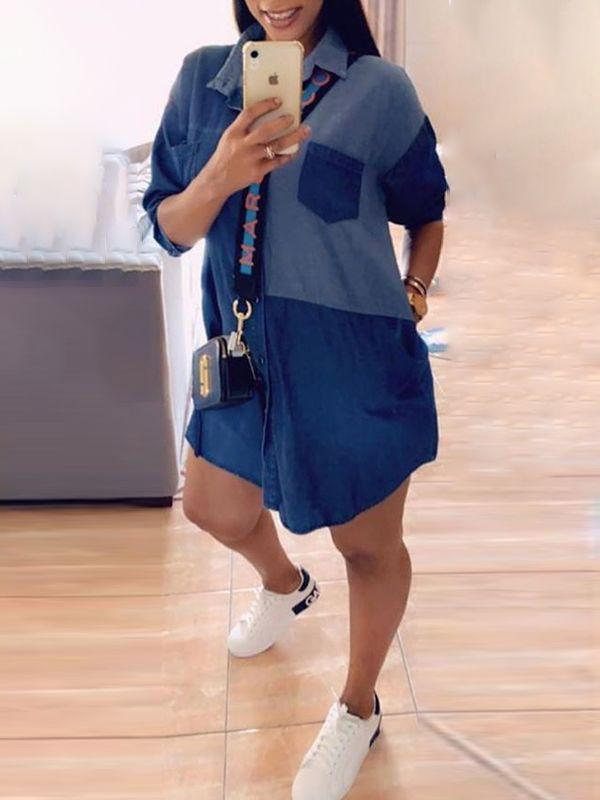 Two-Tone Combo Denim Shirt Dress
