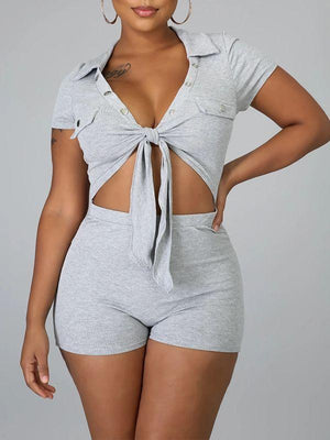 Tied Button-Front Romper