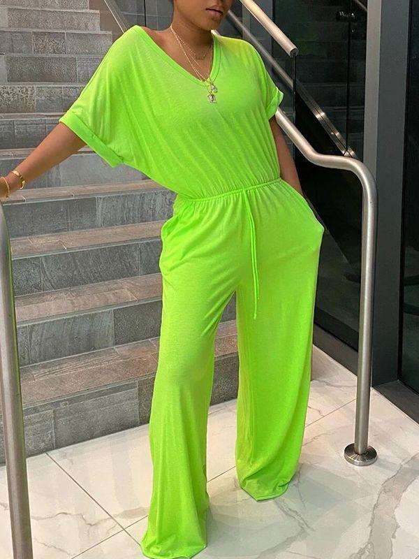 Solid V-Neck Jumpsuit