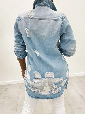 Distressed Denim Jacket--Shipped on July 5th